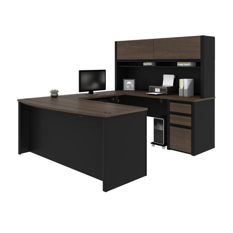Bestar Connexion 72W U-Shaped Executive Desk with Pedestal and Hutch in antigua & black