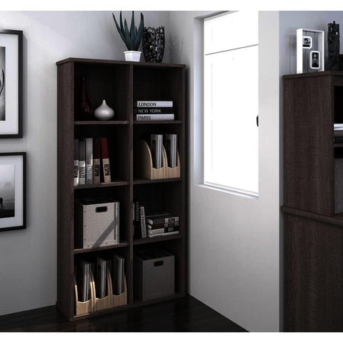 Bestar Dayton Cubby Bookcase in Bark Gray