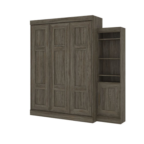 "Bestar Edge 87W Queen Murphy Bed and 1 Storage Unit (86"") in walnut grey"