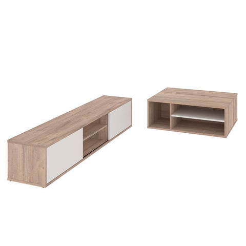 Bestar Fom 2-Piece Set including a TV stand and a Coffee table in rustic brown & sandstone