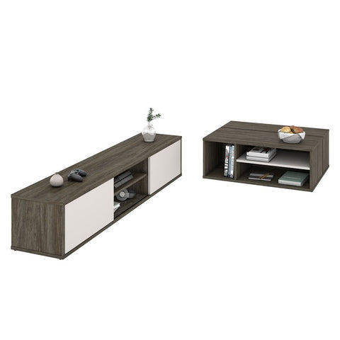 Bestar Fom 2-Piece Set including a TV stand and a Coffee table in walnut grey & sandstone