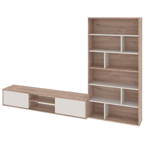 Bestar Fom TV Stand with 2 Asymmetrical Shelving Units in rustic brown & sandstone