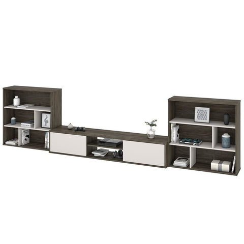 Bestar Fom TV Stand with 2 Asymmetrical Shelving Units in walnut grey & sandstone