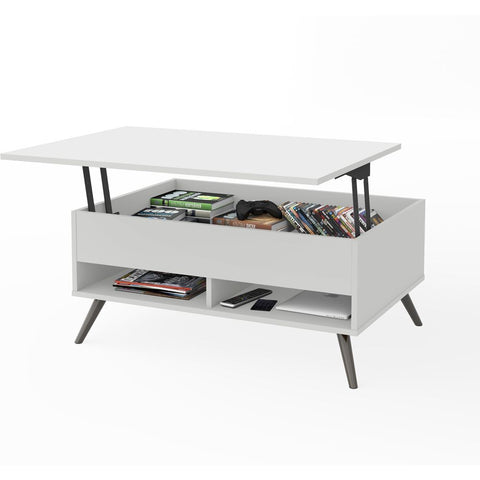 "Bestar Krom 38W 37"" Lift-Top coffee Table with metal legs in white"