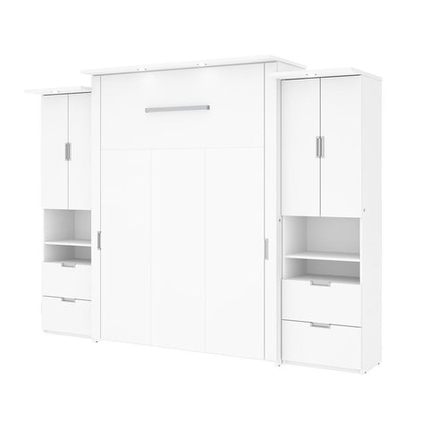 "Bestar Lumina 112W Queen Murphy Bed and 2 Storage Units (113"") in white"