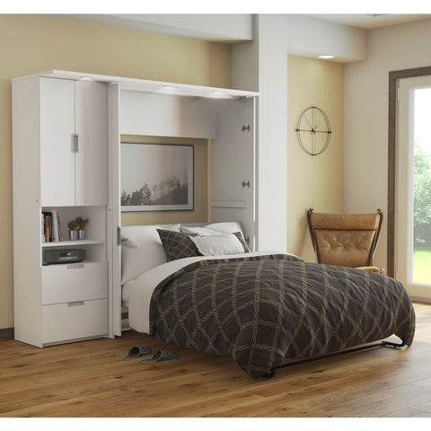 "Bestar Lumina Full Murphy Bed and one Storage Unit (82"") in white"