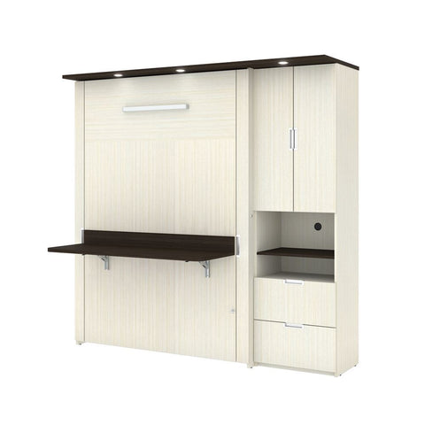"Bestar Lumina Full Murphy Bed with Desk and 1 Storage Unit (83"") in white chocolate"