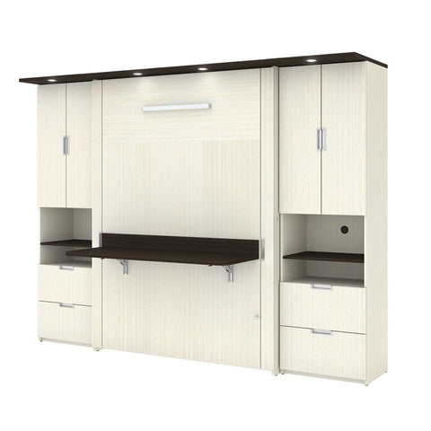 "Bestar Lumina Full Murphy Bed with Desk and 2 Storage Units (107"") in white chocolate"