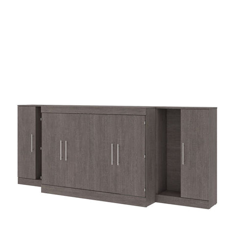 "Bestar Nebula 113W 3-Piece Set Including One Full Cabinet Bed with Mattress and Two 26"" Storages Unit for Cabinet Beds in bark grey"