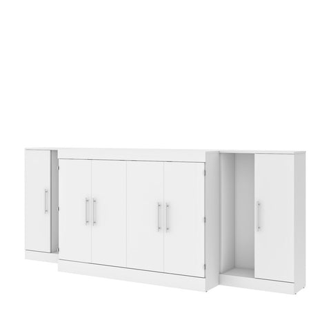 "Bestar Nebula 113W 3-Piece Set Including One Full Cabinet Bed with Mattress and Two 26"" Storages Unit for Cabinet Beds in white"