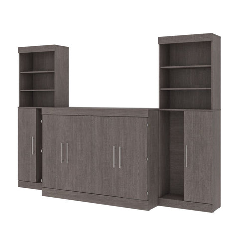 "Bestar Nebula 113W 5-Piece Set Including One Full Cabinet Bed with Mattress, Two 26"" Storage Units, and Two Hutches in bark grey"