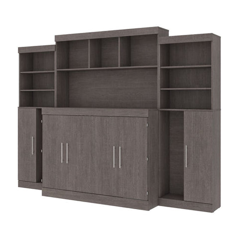 Bestar Nebula 113W 6-Piece Set Including One Full Cabinet Bed with Mattress and Assorted Storage Units in bark grey