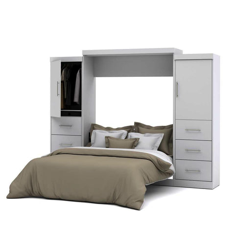 Bestar Nebula 115 Inch Queen Wall Bed Kit in White