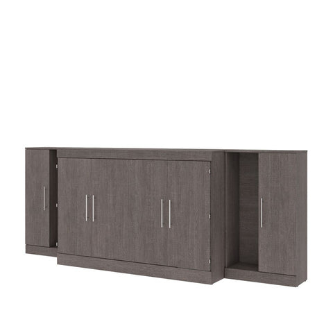"Bestar Nebula 119W 3-Piece Set Including One Queen Cabinet Bed with Mattress and Two 26"" Storage Units in bark grey"