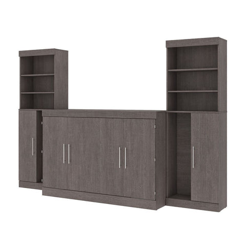 "Bestar Nebula 119W 5-Piece Set Including One Queen Cabinet Bed with Mattress, Two 26"" Storage Units, and Two Hutches in bark grey"