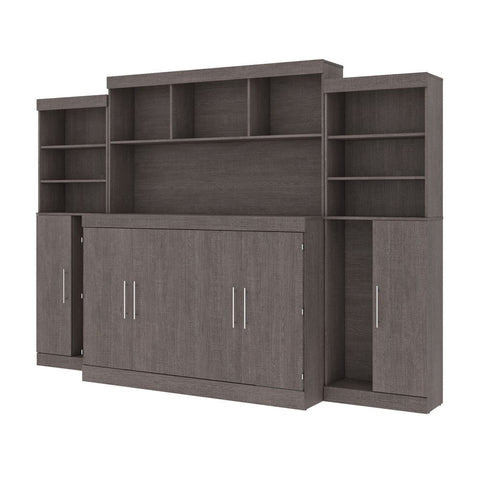 Bestar Nebula 119W 6-Piece Set Including One Queen Cabinet Bed with Mattress and Assorted Storage Units in bark grey