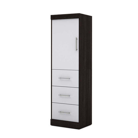 Bestar Nebula 25 Inch Storage Unit w/Door & Drawers in Bark Gray & White