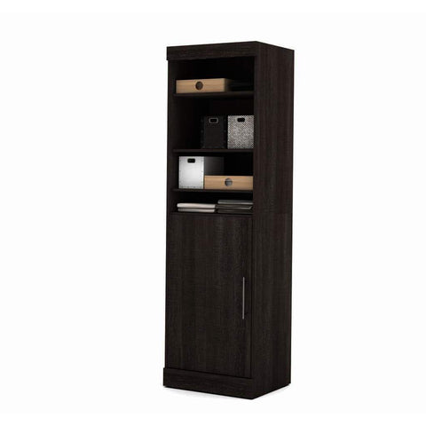 Bestar Nebula 25 Inch Storage Unit w/Door in Bark Gray
