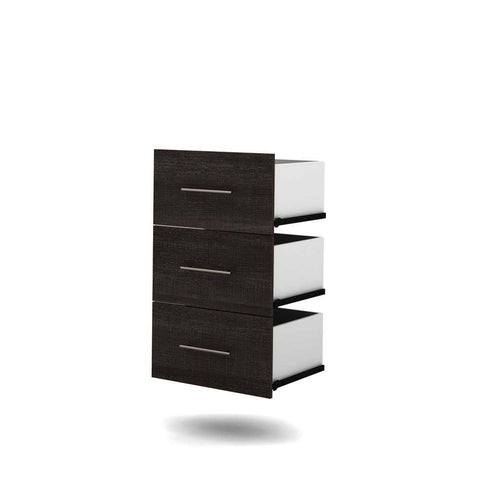 Bestar Nebula 3-Drawer Set for 25 Inch Storage Unit in Bark Gray