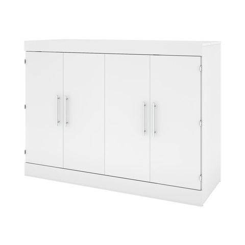 Bestar Nebula 61W 60W Full Cabinet Bed with Mattress in white