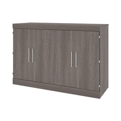 Bestar Nebula 67W Queen Cabinet Bed with Mattress in bark grey