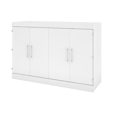 Bestar Nebula 67W Queen Cabinet Bed with Mattress in white