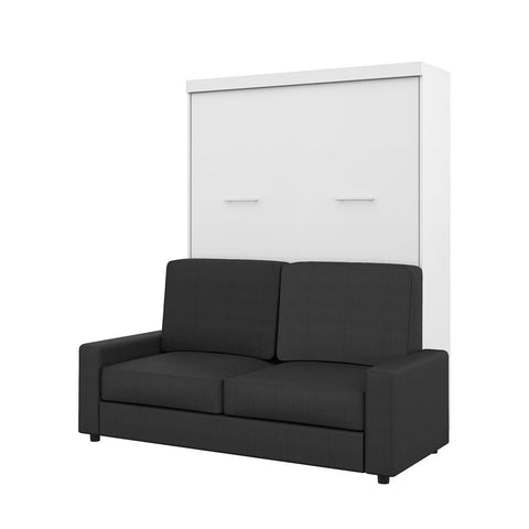 Bestar Nebula 78W Queen Murphy Bed and a Sofa in white