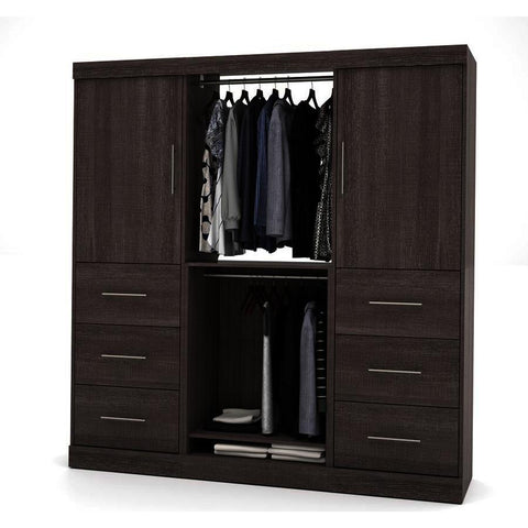 Bestar Nebula 80 Inch Storage Kit w/2 Drawer Sets in Bark Gray