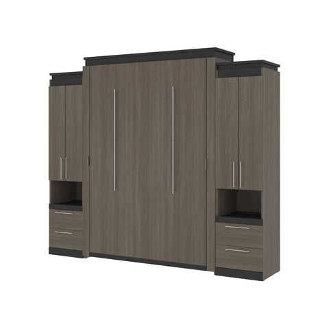 Bestar Orion 104W Queen Murphy Bed and 2 Storage Cabinets with Pull-Out Shelves (105W) in bark gray & graphite