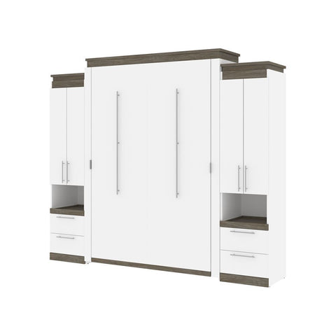 Bestar Orion 104W Queen Murphy Bed and 2 Storage Cabinets with Pull-Out Shelves (105W) in white & walnut grey