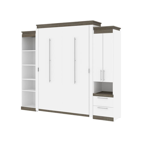 Bestar Orion 104W Queen Murphy Bed with Narrow Storage Solutions (105W) in white & walnut grey