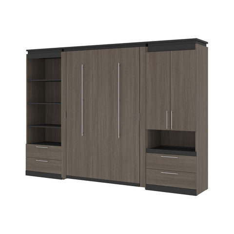 Bestar Orion 118W Full Murphy Bed and Multifunctional Storage with Drawers (119W) in bark gray & graphite