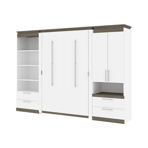 Bestar Orion 118W Full Murphy Bed and Multifunctional Storage with Drawers (119W) in white & walnut grey