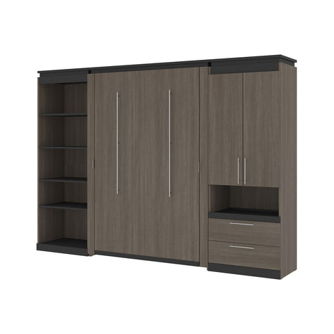 Bestar Orion 118W Full Murphy Bed with Multifunctional Storage (119W) in bark gray & graphite