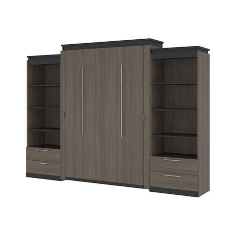 Bestar Orion 124W Queen Murphy Bed and 2 Shelving Units with Drawers (125W) in bark gray & graphite