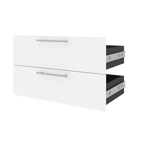 Bestar Orion 2 Drawer Set for Orion 30W Shelving Unit in white & walnut grey