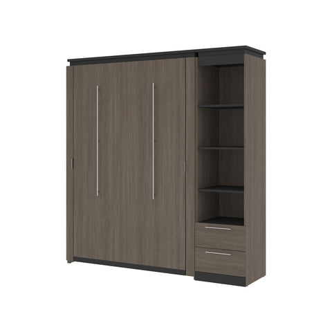 Bestar Orion Full Murphy Bed and Narrow Shelving Unit with Drawers (79W) in bark gray & graphite