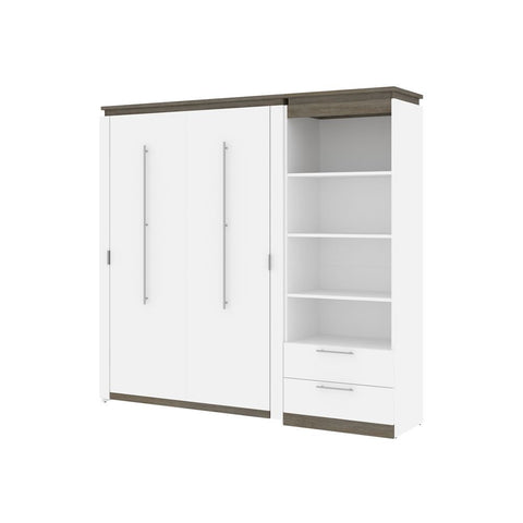 Bestar Orion Full Murphy Bed and Shelving Unit with Drawers (89W) in white & walnut grey
