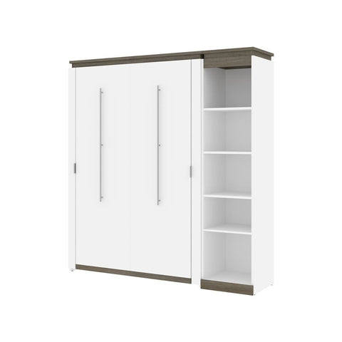 Bestar Orion Full Murphy Bed with Narrow Shelving Unit (79W) in white & walnut grey