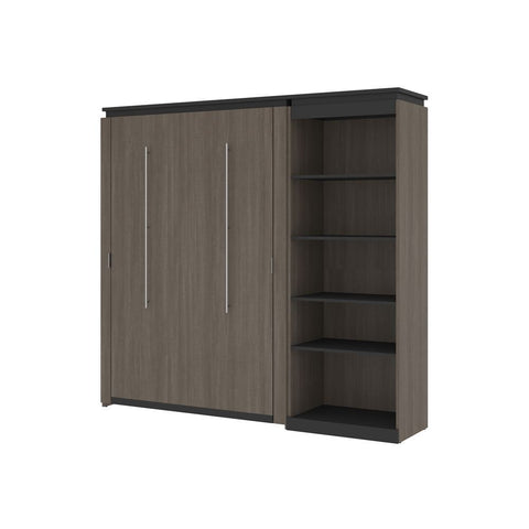 Bestar Orion Full Murphy Bed with Shelving Unit (89W) in bark gray & graphite