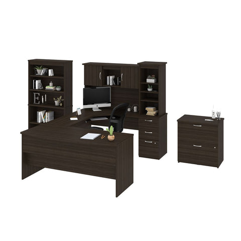 Bestar Outremont U or L-Shaped Desk, 1 Lateral File Cabinet, and 1 Bookcase in dark chocolate