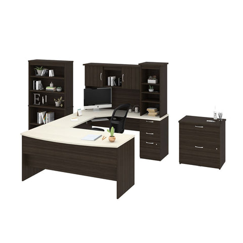 Bestar Outremont U or L-Shaped Desk, 1 Lateral File Cabinet, and 1 Bookcase in white chocolate
