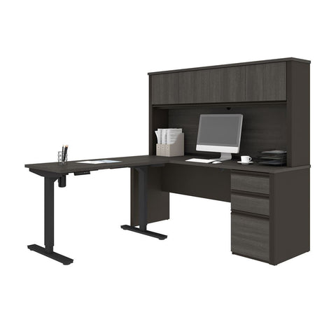 Bestar Prestige + 72W 2-Piece set including a standing desk and a desk with hutch in bark grey & slate