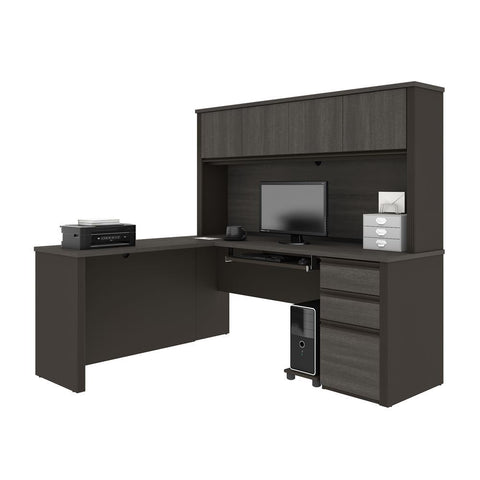 Bestar Prestige + 72W L-Shaped Desk with Pedestal and Hutch in bark grey & slate
