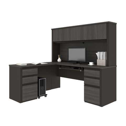 Bestar Prestige + 72W Modern L-Shaped Office Desk with Two Pedestals and Hutch in bark grey & slate