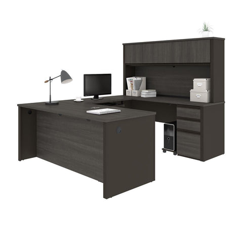 Bestar Prestige + 72W U-Shaped Executive Desk with Hutch and 2 Pedestals in bark grey & slate