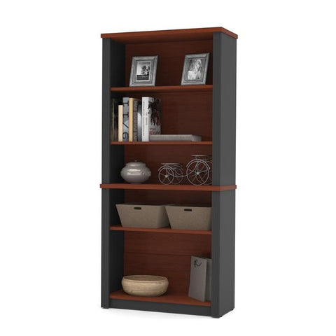 Bestar Prestige Plus Modular Bookcase In Bordeaux And Graphite
