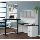 Bestar Pro-Concept Plus Height Adjustable L-Desk w/Frosted Glass Door Hutch in White & Deep Grey