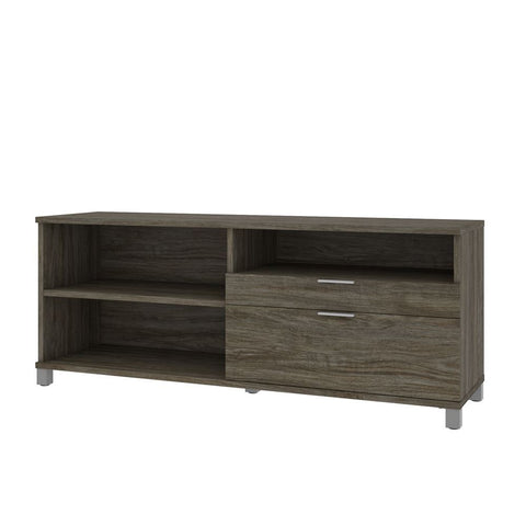 Bestar Pro-Linea 72W Credenza with 2 Drawers in walnut grey