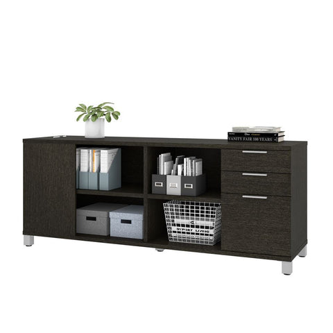 Bestar Pro-Linea 72W Credenza with 3 Drawers in deep grey